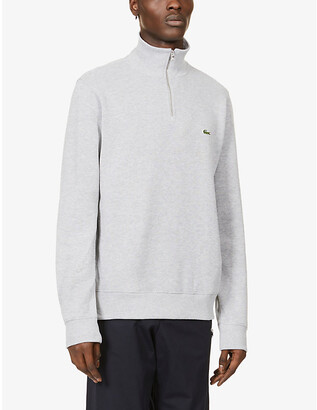 Lacoste Logo-embroidered half-zip cotton-knit sweatshirt