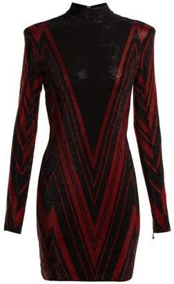 Balmain Chevron-stripe Crystal-embellished Mini Dress - Womens - Black Red