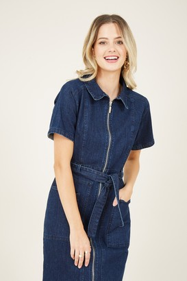 Yumi Blue Denim Zip Shirt Dress