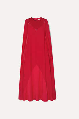 Givenchy Cape-effect Beaded Wool-crepe And Silk-chiffon Gown - Red