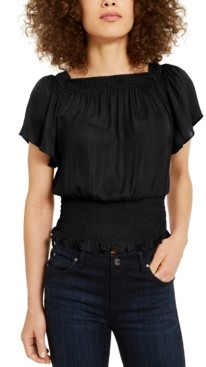 INC International Concepts Inc Petite Smocked Top, Created for Macy's