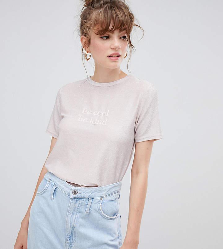 New Look Be Cool Be Kind Metallic Slogan Tee