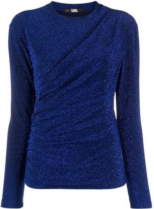 Karl Lagerfeld Paris Draped Lurex Knit Top