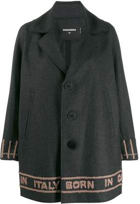 DSQUARED2 logo knit single breasted coat