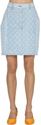 Marine Serre LOGO PRINT COTTON DENIM MINI SKIRT