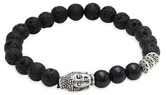 Jean Claude Stainless Steel, Lava Stone Black Onyx Beaded Bracelet