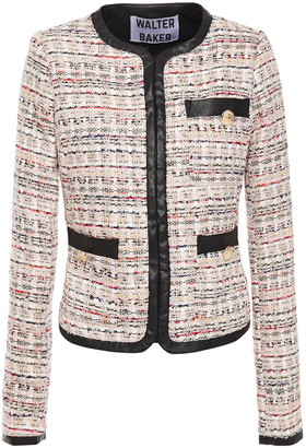 Walter Baker Faux Leather-trimmed Metallic Tweed Jacket