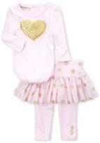 Juicy Couture Newborn Girls) Two-Piece Glitter Heart Bodysuit & Metallic Tulle Leggings Set
