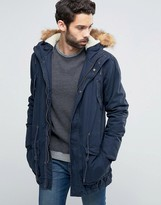 !solid Parka With Faux Fur Hood