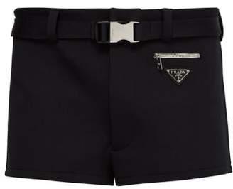 Prada Belted Technical Twill Swim Shorts - Mens - Black