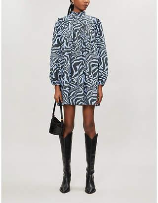 Ganni Tiger-print high-neck cotton mini dress