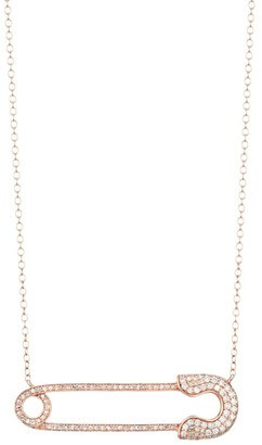 Nina Gilin 14K Rose Gold & Diamond Safety Pin Pendant Necklace