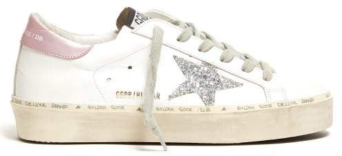 Golden Goose Hi Star Low Top Leather Trainers - Womens - White Silver