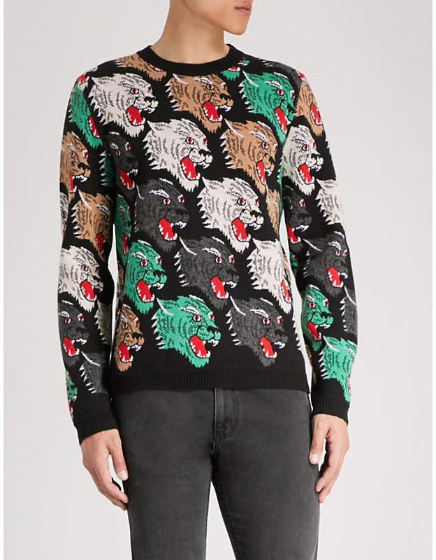 Gucci Leopard jacquard-wool jumper