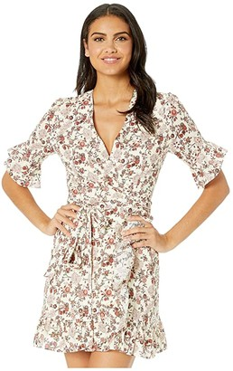 WAYF Kaitlyn Eyelet Wrap Mini Dress (Ivory Batik Paisley) Women's Dress