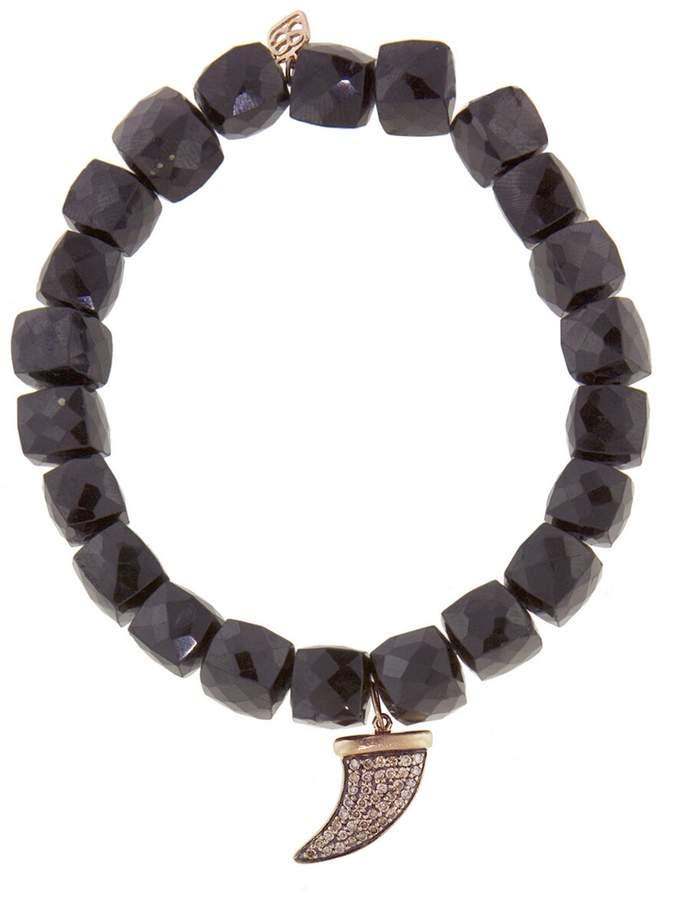 Sydney Evan Brown Diamond Horn Charm On Spinel Beaded Bracelet