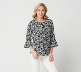 Linea By Louis Dell'olio by Louis Dell'Olio Printed Button Front Ruffle Blouse