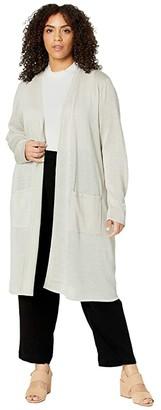 Eileen Fisher Plus Size Fine Organic Linen Crepe Sparkle Simple Cardi (Bone) Women's Clothing