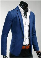 Amyove 2015 Fashion Tops Men Slim Fit Stylish Casual One Button Suit Coat Jacket Blazer Color:Blue Size:CN XXL =(US/UK L)