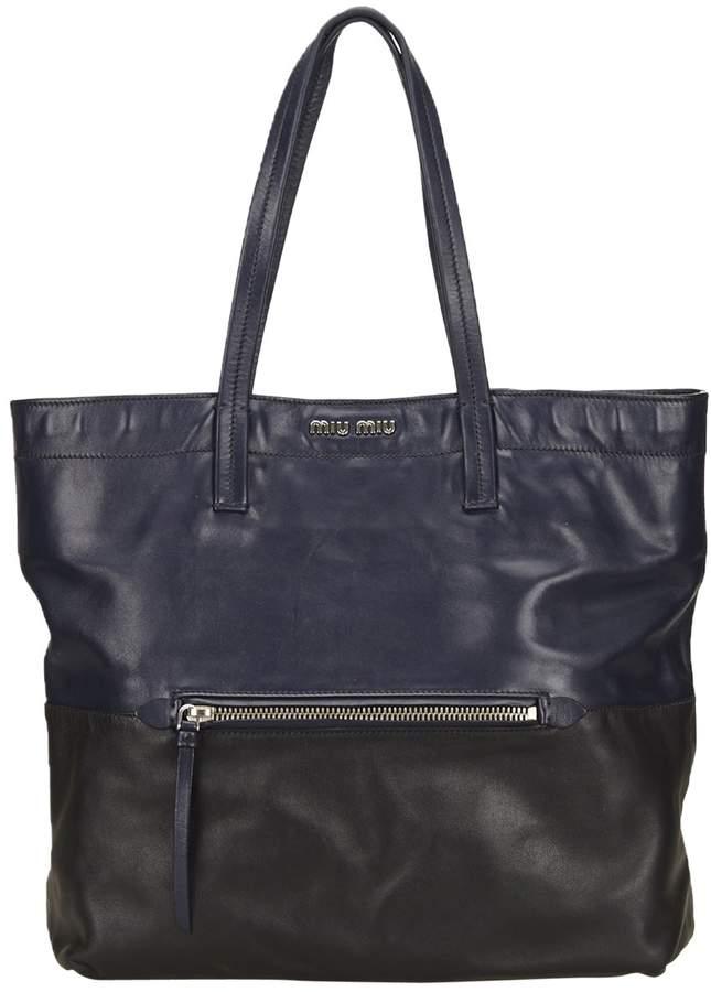 Miu Miu Madras leather tote