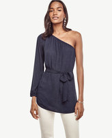 Ann Taylor Pindot Belted One Shoulder Blouse