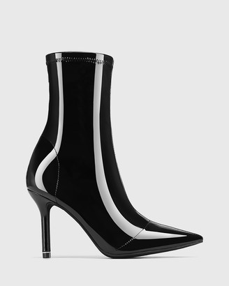 Wittner - Women's Black Ankle Boots - Qadira Stretch Patent Pointed Toe Ankle Boots - Size One Size, 38 at The Iconic