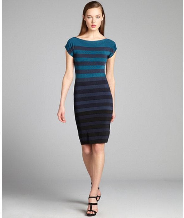 French Connection teal and black striped jersey knit 'New Ribbon' bandage dress