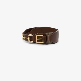 Gucci brown Horsebit GG Supreme belt