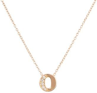 Latelita Diamond Initial Letter Pendant Necklace Rose Gold O