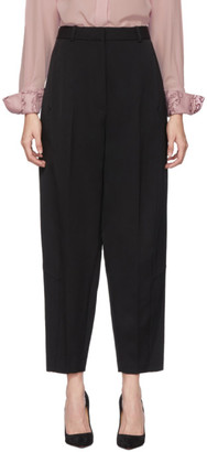 Victoria Beckham Black Wool High-Waisted Tapered Trousers