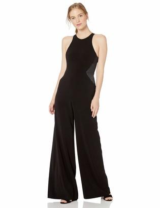 Halston Women's Sleeveless HIGH Neck Jumpsuit