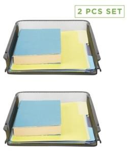 Mind Reader 2 Piece Front Load Storage Tray, Desktop File Organizer