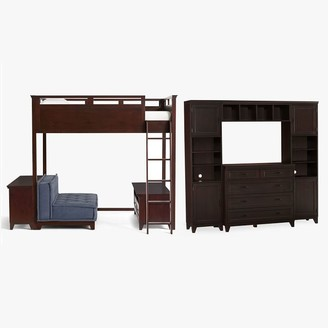 Pottery Barn Teen Hampton Loft Bed with Cushy Loveseat, Media, Bookcase & Dresser Superset