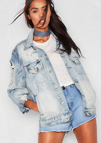 Missy Empire Derry Blue Denim Ripped Distressed Oversized Jacket