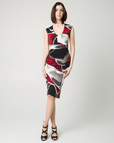 Le Château Abstract Print Knit Scoop Neck Shift Dress