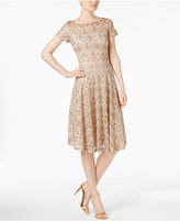 Sangria Sequined Lace Fit and Flare Dress