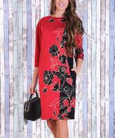 JET Black & Red Floral-Contrast Shift Dress