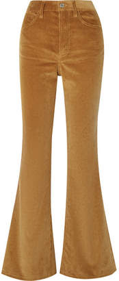 RE/DONE 70s Ultra High-rise Cotton-corduroy Flared Pants - Camel