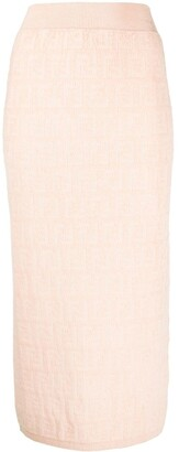 Fendi FF print pencil skirt