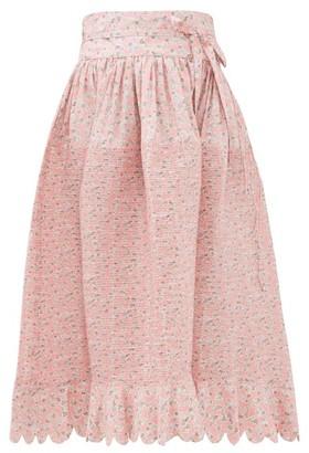 Horror Vacui Lydia Kitten-print Pintucked Cotton Skirt - Pink