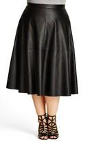 City Chic Plus Size Women's 'Flirt' Faux Leather Midi Skirt