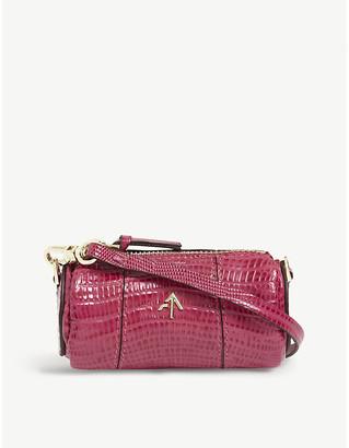 MANU Atelier Cylinder mini lizard-embossed leather shoulder bag