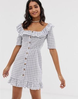 Asos Design DESIGN square neck gingham mini dress with button through and pephem-Multi