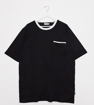 Calvin Klein Big & Tall contrast collar crew neck t-shirt in black
