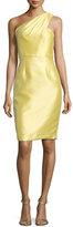 Monique Lhuillier One-Shoulder Jacquard Sheath Dress, Daisy