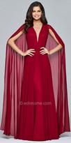 Faviana Chiffon Gathered V-neck with Cape Evening Dress