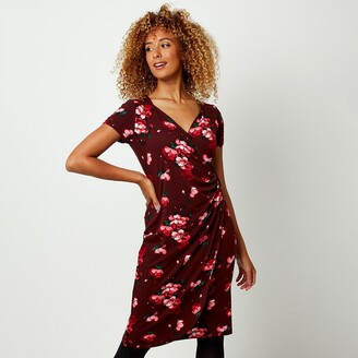 Joe Browns Printed Knee-Length Dress with V-Neck and Short Sleeves