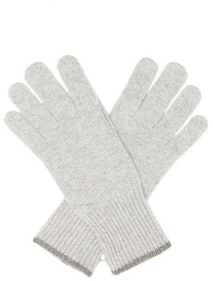Brunello Cucinelli Ribbed-cuff Cashmere Gloves - Grey