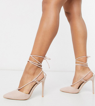 Public Desire Wide Fit Bardot tie up heeled shoes in blush-Pink