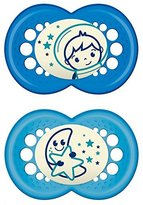 Mam 111211 Night Silic2 Soothers for Boys Age 6 - 16 Months Assorted Colours BPA Free by Babyartikel